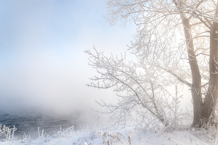 frost covered: River winter in Russia  Tatarstan Kama Stock Photo