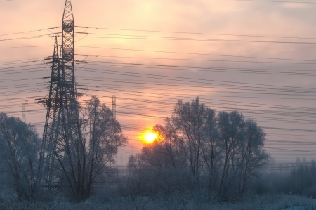 Power poles in the winter Stock Photo