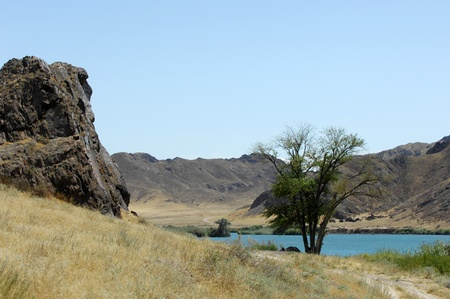 Kazakhstan river , flowing through rocks photo