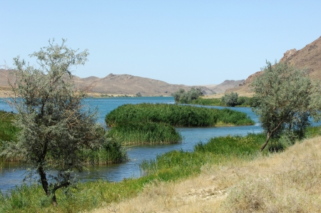 Kazakhstan river , flowing through rocks Stock Photo - 17096155