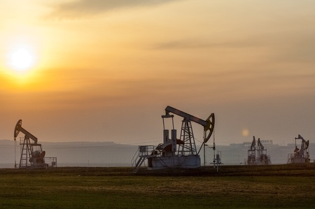 Oil rocking spring. Tatarstan, Russia Stock Photo - 17871220
