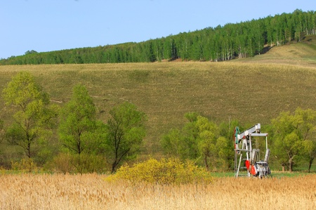 Oil rocking spring. Tatarstan, Russia Stock Photo - 18130191