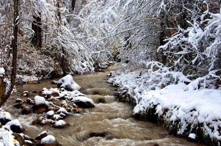De rivier de eerste sneeuw Stockfoto