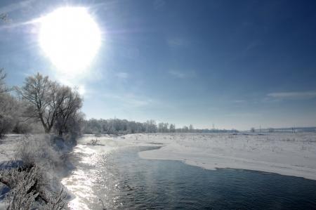 River winter in Russia  Tatarstan Kama Standard-Bild