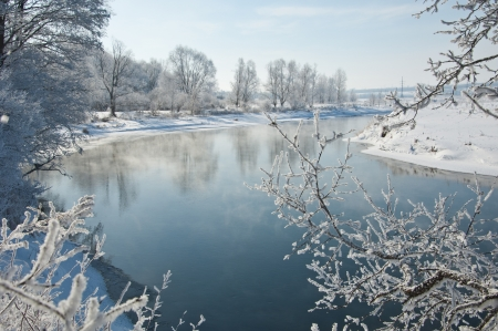 River winter in Russia  Tatarstan Kama Stock Photo