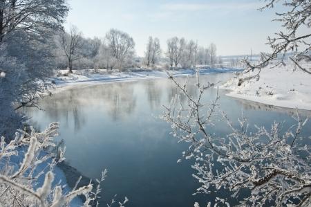 Rivier winter in Rusland Tatarstan Kama Stockfoto