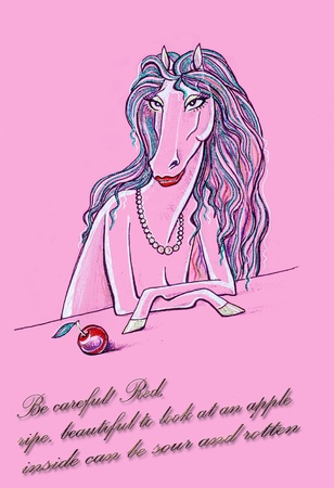 Girl horse. drawing.  horse with apple.  photo
