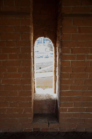 magic window. Classic window frame. Close-up shot  wooden window. photo