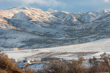 Kazakhstan. Tien Shan. Beautiful landscape with mountain views. Winter evening.