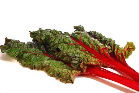 snijbiet. close-up van een Mangold blad achtergrondverlichting. verse groenten - snijbiet die op de witte achtergrond.
