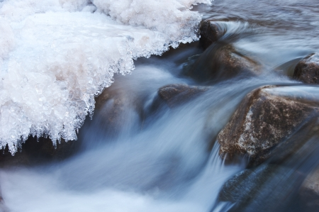 River in winter.  Ice on river in frosty winter sunset