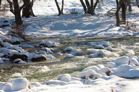River ice. river in winter. winter creek.