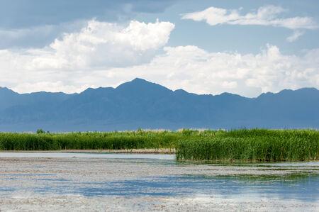 River in steppe. prairie.  Chilik, Almaty Province, Kazakhstan. Altyn Emel National Park Stock Photo