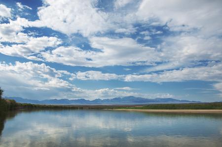 river in steppe. prairie.  Chilik, Almaty Province, Kazakhstan. Altyn Emel National Park