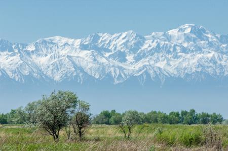 Gorgeous scenery. Kazakhstan desert in early winter photo