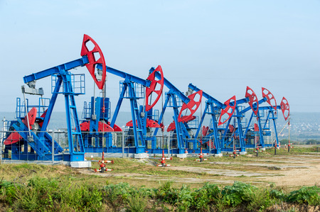 nodding:  Work of oil pump jack on a oil field.