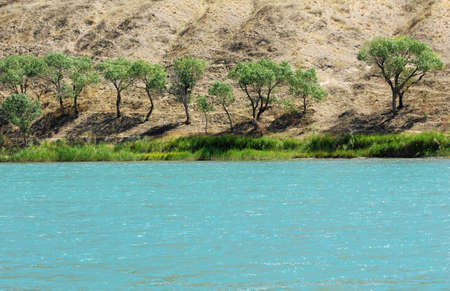 Kazakhstan river , flowing through rocks photo