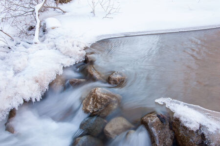 Icy river in the winter. photo