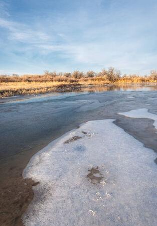 River ice. river in winter. winter creek. photo
