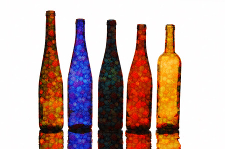 Decorative Empty beautiful bottles. texture of the bottle photo