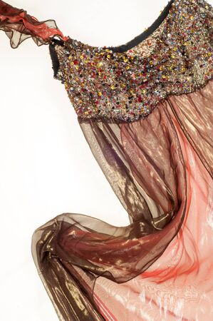 transparent dress: tissue, textile, fabric, material, texture. Fabric photographed in the studio