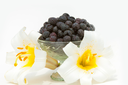 drupe: black raspberries. an edible soft fruit, consisting of a cluster of black drupe lets.