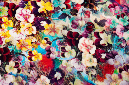 photography studio: Fabric texture with small flowers. Woven fabric.  Photography Studio Stock Photo