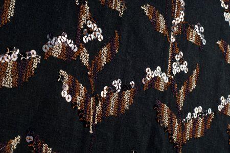 photography studio: Fabric texture black brown patterns.  Photography Studio Stock Photo