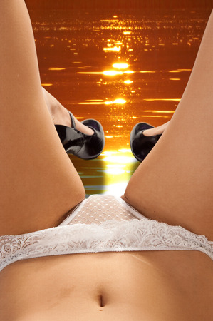 tummy girl. Erotic lingerie panties bra. girl XXX. Photographed in studio