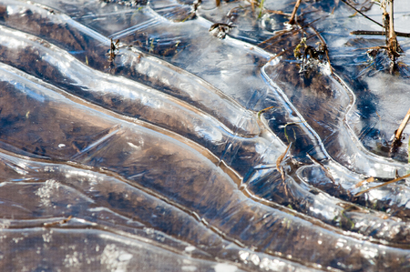 mud and snow: texture.  Frozen puddle, spring, ice patterns. Stock Photo