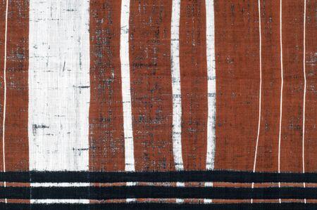 stripe pattern: Cotton fabric texture. Brown black white stripe pattern fabric