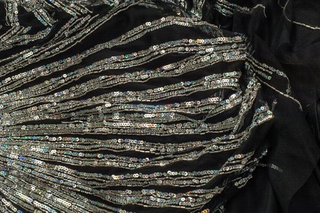 jeweled: Fabric texture sequined.  jeweled, spangly, beady