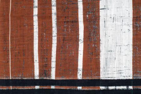 brown stripe: Cotton fabric texture. Brown black white stripe pattern fabric