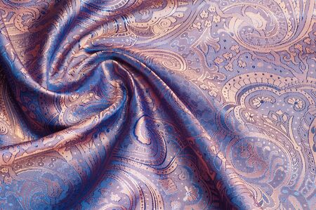 fabric texture red brown, terracotta. Painting on silk cloth. Thai painting pattern of golden brown silk cloth full frame. Banco de Imagens