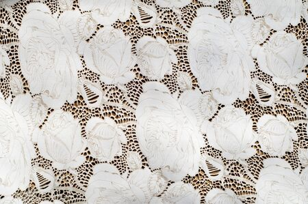 the texture of the skin with embossed floral pattern. abstract vintage leather floral pattern. Leather floral pattern background. Stock Photo