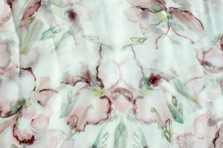 polyester: Fabric silk texture, abstract flowers drawn on the fabric