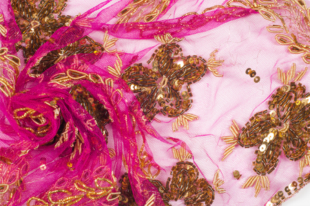 sequins: Lace pink embroidered with beads and sequins