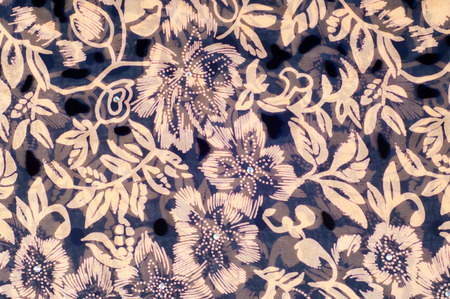 tela seda: texture silk cloth. dark blue with gold-painted flowers