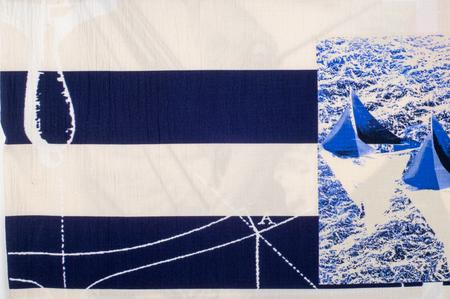 regatta: Batiste fabric texture. marine theme painted on fabric. Painted Yachting Regatta Stock Photo