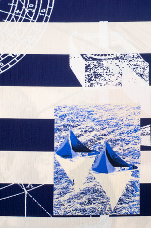 lining fabric: Batiste fabric texture. marine theme painted on fabric. Painted Yachting Regatta Stock Photo