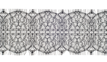 The texture of fabric lace.  Texture lace fabric. lace on white studio. thin fabric made of yarn or thread. typically one of cotton or silk, made by looping, twisting, or knitting thread in patterns Stock Photo