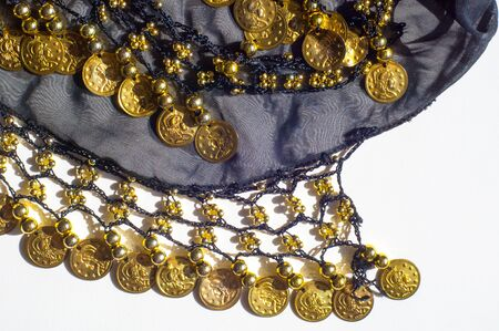 personal ornaments: Silk fabric texture, blue, gold coins. Oriental style