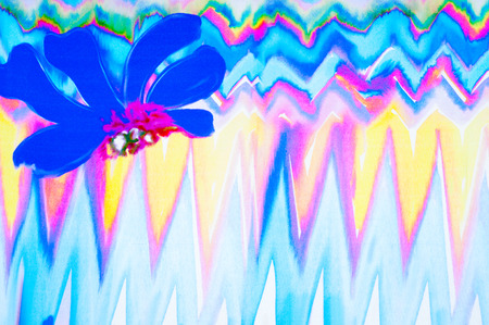 polyester: Texture silk cloth. abstract drawing, flower, red green blue and white drawing