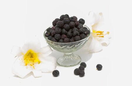 black raspberries: Black raspberries. Black raspberry isolated on white as package design element. Sort Cumberland