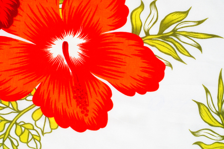 surrounds: Cotton fabric texture, background, painted red flowers on a white background. a soft white fibrous substance that surrounds the seeds of a tropical and subtropical plant