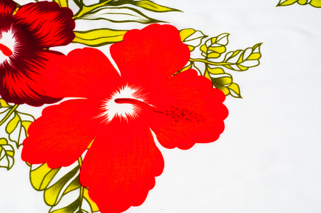 fibrous: Cotton fabric texture, background, painted red flowers on a white background. a soft white fibrous substance that surrounds the seeds of a tropical and subtropical plant