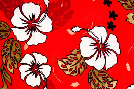 fibrous: Cotton fabric texture, background, painted white flowers on a red background. a soft white fibrous substance that surrounds the seeds of a tropical and subtropical plant