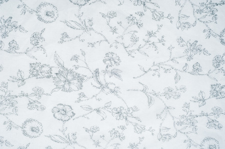 fibrous: Cotton fabric texture background white with painted flowers. a soft white fibrous substance that surrounds the seeds of a tropical and subtropical plant