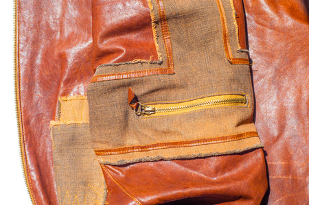Leather Jacket texture background with decorative stripes. an outer garment extending either to the waist or the hips photo