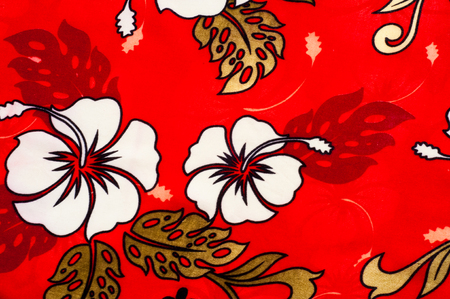 fibrous: Cotton fabric texture background painted white flowers on a red background. a soft white fibrous substance that surrounds the seeds of a tropical and subtropical plant